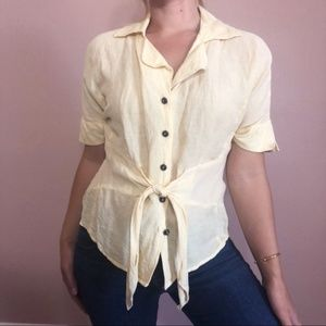 Nic + Zoe Silk and Linen Blend Tie Front Blouse